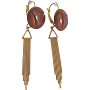 Upcycled Bakelite Chocolate Carved Cabochon & GP Sculptural Drop & Dormeuse Earrings