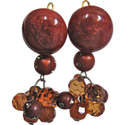 Upcycled GP Dormeuse Pierced Amber Bakelite Swirl Domes with Rhinestone amber beads Drops Earrings