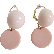 Upcycled Shell Pink Lucite Cabochon & Shell Pink Bakelite Discs GP Dormeuse Pierced Earrings
