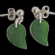Vintage Jadeite Imperial Color British Estate Pierced SS Pierced Earrings