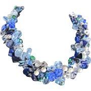 Upcycled Glass Flower & Leaves in Blues, Clears with Faux Pearls on Wire Necklace
