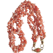 Vintage 18kt GP Natural Angel Skin Branch Chip Coral 3 Strand Torsade Necklace