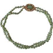 Little Creations Peridot 2 Strand 18kt GP Jade Cabochon Clasp and Precious 3mm Bracelet