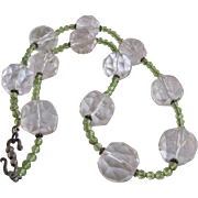 Vintage Appraised $1285 Sterling Silver Gemstone Facetted 20mm Rock Crystal Quartz and Peridot bead Necklace