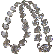Art Deco Sparkling Rock Crystal Bezel Set Facetted Gem Necklace with Certified Appraisal Value $1285