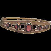 Vintage Signed Carl Art Victorian Revival Style Almandite Garnet Graduated Gems GF Bracelet Certified Appraised Value $545