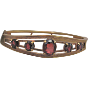 Vintage Signed Carl Art Victorian Revival Almandite Garnet Graduated Gems GF Bracelet Certified Appraised Value $545