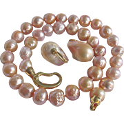 Vintage Baroque Sea Cultured Dyed 11.50mm Pearls with Matching Baroque Pearl 22.50mm Pierced Earrings Certified Appraised Value $2330