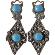 Vintage 900 Silver Cannetille GenuineTurquoise Cabochon Earrings Certified Appraisal $375