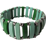 Vintage 2 tone Green Galalith and Chrome Stretch Bracelet