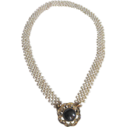 Vintage Woven Freshwater Cultured Pearl GP Necklace