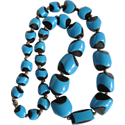 Art Deco Rare Turquoise and Black Asymmetrical Graduated BAKELITE Bead Hand Knotted Necklace
