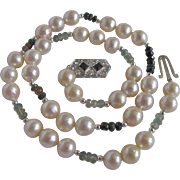 Vintage 12kt South Sea Cultured Pearl 9.30- 10mm Semi-Baroque & Tourmaline & Blue Sapphire & Diamond Necklace
