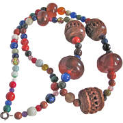 Vintage Hand Carved Amber & Wood Necklace with All Sorts Gemstone beads-- A Rainbow of Boho Chic