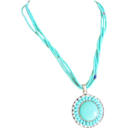Vintage Sterling silver 5 Strand Enhanced Turquoise and Sterling Turquoise Pendant Certified Appraisal $1150