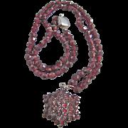 Antique Victorian 7kt Gold Bohemian Garnet Necklace & Pendant with Certified Appraisal $1750.00!!!