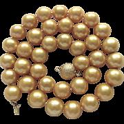 Vintage 18kt GP Golden South Sea Delta Enhanced 10.50-11mm Cultured Pearl Necklace Certified Appraisal $1800