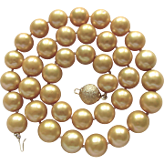 Vintage 18kt GP Golden South Sea Delta Enhanced 10.50-11mm Cultured Pearl Necklace Certified Appraisal $1800