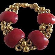 Art Deco Gold Plated Modernist Jakob Bengel Deep Red Galalith Links Bracelet