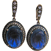 Vintage Victorian Revival Sterling Silver/GP *Synthetic Lab Created Blue Sapphire Facetted Stones Pierced Earrings with Certified Appraisal $1450