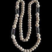 Vintage Jasper and Quartz Bead Eternity 36 Inch Necklace