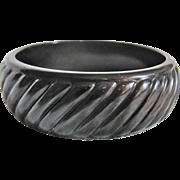 Art Deco Galalith Geometric Slanted Pattern Bangle Bracelet