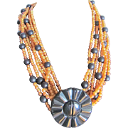 Vintage Unsigned Gerda Lynggaard Monies Multi Strand Horn Bead in Amber and Carved Black Horn Clasp