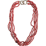 Vintage 22kt GP Clasp with 5 Strand Salmon Dyed Coral Torsade Necklace *Certified Appraisal* $1455