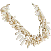 Vintage Certified Appraised $2250 Creamy White Natural Coral 5 strand Torsade 22kt GP Necklace