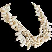Vintage Certified Appraised $2250 Creamy White Natural Coral 5 strand Torsade 22kt GP Necklace