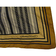 Vintage 70's Monique Martin Silk Hand Rolled Geometric Pattern Square Scarf