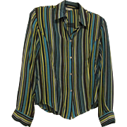 80's Holt Renfrew 100% Silk Striped Fitted Shirt Size 10