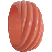 Art Deco Twisted Diagonal Coral Orange Galalith Bangle
