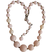 Vintage Angel Skin Blush Pink 16 Inch Graduated Early Lucite Plastic Necklace