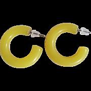 Mid Century Pop Art Style Open Hoop Lemon Yellow Lucite Tube Pierced Earrings