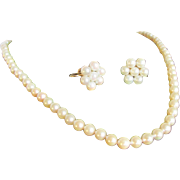 Vintage 14kt A+Cultured Akoya Pearls 5-5.50mm Graduated Necklace With 14kt GF Cultured Pearl Earrings and Certified Appraisal $ 1550