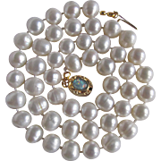 """Little Creations October Birthstone 18kt GP Opal Cabochon Clasp with 8mm Chinese Freshwater Cultured Pearls 19 1/2"""" Necklace"""