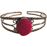 Upcycled Harris Tweed Cabochon in SP  Victorian Revival Repousse Style Cuff Bracelet