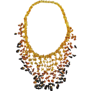"Vintage Baltic Amber Graduated ""Fringe"" Chip Golden Transparent & Honey & Cognac bead 40 Grams Necklace from Latvia"
