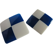 Mid Century Blue transparent  and white Lucite checkerboard pierced earrings