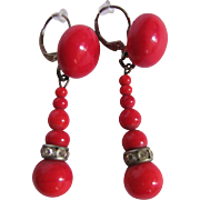 Vintage Sterling Silver Japanese Red Coral Glass Drop French Clip Leverback Pierced Earrings.