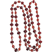 Vintage Baltic Amber Natural, Facetted Carved Beads 40 Inch Necklace
