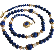Vintage 18kt GP Graduated Lapis Lazuli with Cultured Akoya Pearls Necklace Certified Appraisal Value $1585