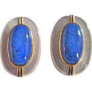 Vintage 18kt GP on Sterling Signed Les Bernard Mother of Pearl & Sodalite Clip Earrings Certified Appraised Value $525