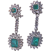 Vintage 7kt White Gold Lab Created *Synthetic Emerald and CZ Drop Omega Back Pierced Earrings Certified Appraisal $3035!!