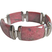 Mid Century Sterling Silver Rhodocrosite Curved Facetted Link Chinese Bracelet with Certified Appraisal Value $1925