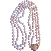 Vintage Unsigned Miriam Haskell Faux Angel Skin Coral Glass Double Strand Necklace
