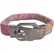 Upcycled Harris Tweed Bracelet with Pewter Buckle Magnetic Clasp