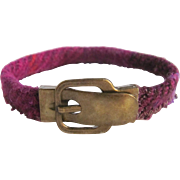 Upcycled Harris Tweed Vintage Brass Buckle & Magnetic Clasp Bracelet
