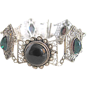 Antique Silver Cannetille / Filagree Onyx and Diachronic Glass Cabochons Bracelet
